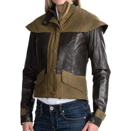 Barbour Ashford Crop Jacket - Leather and Waxed Cotton (For Women) in Brown/Ancient - Closeouts