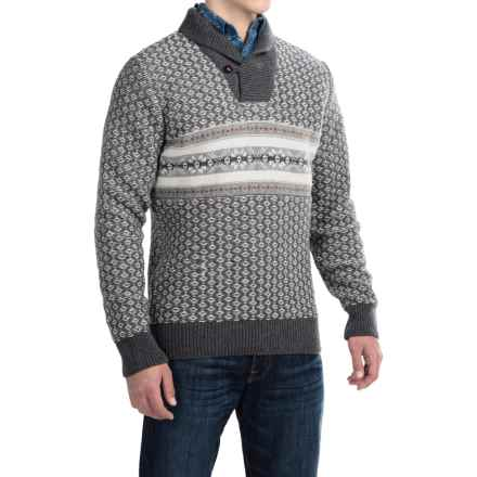 Barbour Baker Lambswool Sweater - Shawl Neck (For Men) in Dark Grey - Closeouts