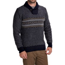 Barbour Baker Lambswool Sweater - Shawl Neck (For Men) in Navy - Closeouts