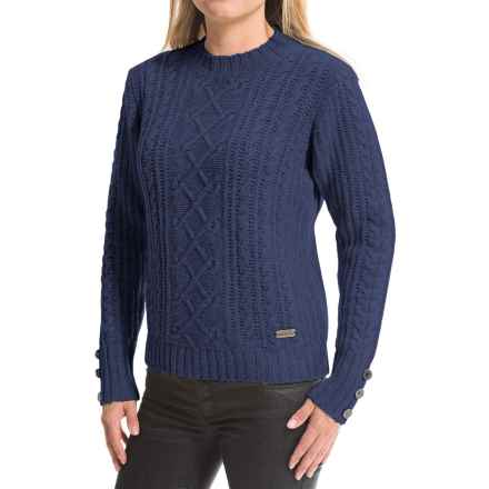 Barbour Barrasford Military Cable-Knit Sweater - Lambswool (For Women) in Indigo - Closeouts