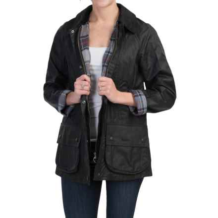 Barbour Beadnell Thornproof Jacket - Satin Waxed Cotton (For Women) in Black - Closeouts