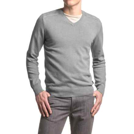 Barbour Bearsden Sweater - V-Neck (For Men) in Grey Marl - Closeouts