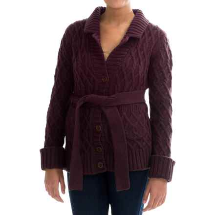 Barbour Belted Lambswool Cardigan Sweater (For Women) in Merlot - Closeouts