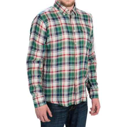 Barbour Bernard Linen Shirt - Tailored Fit, Button-Down Collar, Long Sleeve (For Men) in Green Check - Closeouts