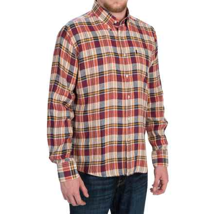 Barbour Bernard Linen Shirt - Tailored Fit, Button-Down Collar, Long Sleeve (For Men) in Red Check - Closeouts