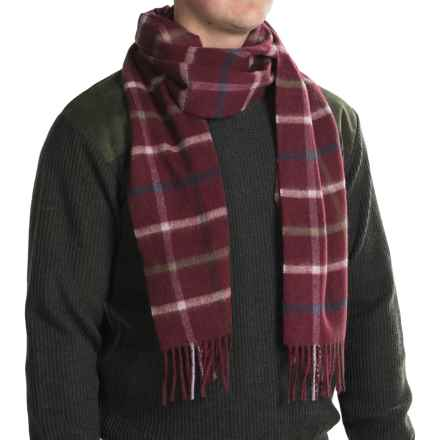 Barbour Bolt Tattersall Scarf - Lambswool-Cashmere (For Men and Women) in Rosewood - Closeouts