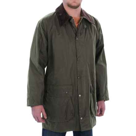 Barbour Border Coat - 6 oz. Thronproof Country Wax Cotton (For Men) in Sage - Closeouts