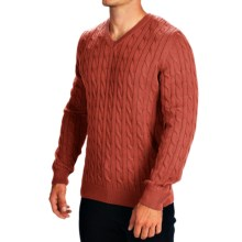Barbour Burnham Cable-Knit Sweater - V-Neck (For Men) in Orange - Closeouts