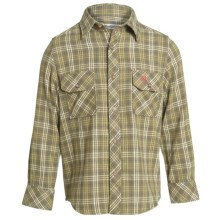 Barbour Button Front Cotton Shirt - Long Sleeve (For Boys) in Green Plaid, Merrist - Closeouts