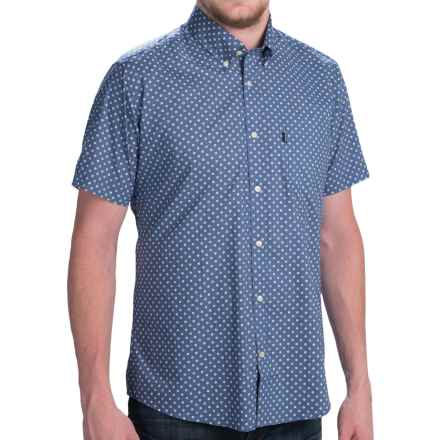 Barbour Button-Front Cotton Shirt - Short Sleeve (For Men) in Navy Micro Print, Lloyd - Closeouts