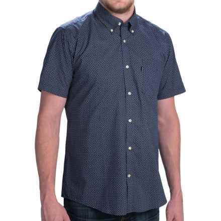 Barbour Button-Front Cotton Shirt - Short Sleeve (For Men) in Navy Micro Print, Theo, Tailored Fit - Closeouts