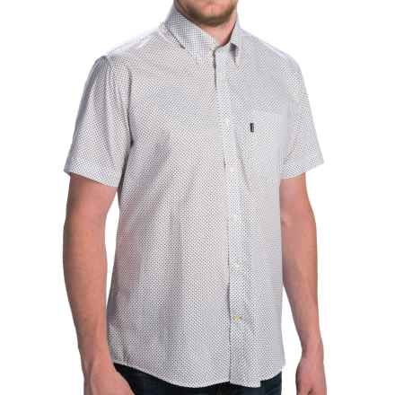 Barbour Button-Front Cotton Shirt - Short Sleeve (For Men) in White Micro Print, Theo, Tailored Fit - Closeouts