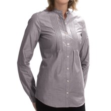 Barbour Byers Pintuck Cotton Shirt - Long Sleeve (For Women) in Grey/Blue - Closeouts