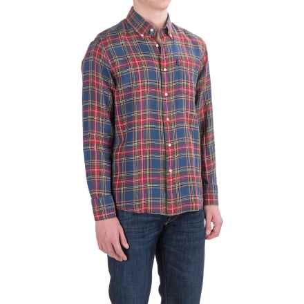 Barbour Calvert Linen Shirt - Long Sleeve (For Men) in Forest Check - Closeouts
