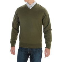 Barbour Carlton Sweater - Merino Wool, V-Neck (For Men) in Mid Olive - Closeouts
