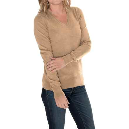 Barbour Classic Merino Wool Sweater - V-Neck (For Women) in Camel - Closeouts