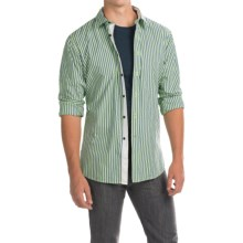 Barbour Cleaver Cotton Shirt - Button Front, Long Sleeve (For Men) in Bright Sage Stripe - Closeouts