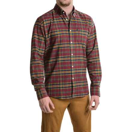 Barbour Collared Cotton Shirt with Pocket - Long Sleeve (For Men) in Crimson, Castlebay - Closeouts