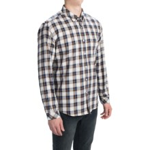 Barbour Collared Cotton Shirt with Pocket - Long Sleeve (For Men) in White Plaid, Trent - Closeouts