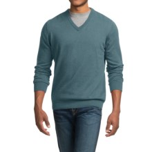 Barbour Cotton-Cashmere Sweater - V-Neck (For Men) in Aqua Twist - Closeouts