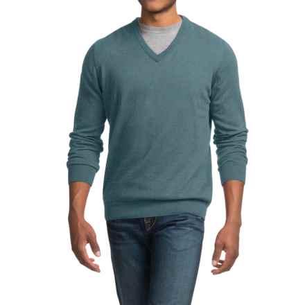 Barbour Cotton-Cashmere Sweater - V-Neck (For Men) in Aqua Twist - Closeouts