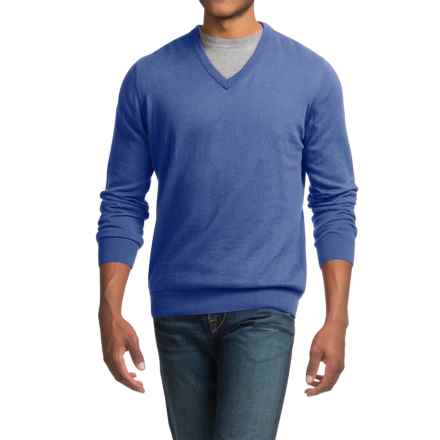 Barbour Cotton-Cashmere Sweater - V-Neck (For Men) in Cobalt Blue - Closeouts