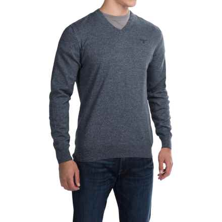 Barbour Cotton-Cashmere Sweater - V-Neck (For Men) in Navy Twist - Closeouts