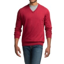 Barbour Cotton-Cashmere Sweater - V-Neck (For Men) in Rich Red - Closeouts