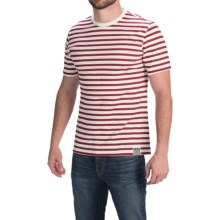Barbour Cotton Knit T-Shirt - Short Sleeve (For Men) in Crimson, Mason Stripe - Closeouts