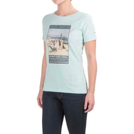 Barbour Cotton Scoop Neck T-Shirt - Short Sleeve (For Women) in Aqua, Renishaw Picture - Closeouts
