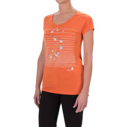 Barbour Cotton Scoop Neck T-Shirt - Short Sleeve (For Women) in Marigold, Renishaw Seagull - Closeouts