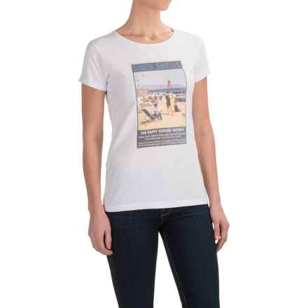 Barbour Cotton Scoop Neck T-Shirt - Short Sleeve (For Women) in White, Renishaw Picture - Closeouts