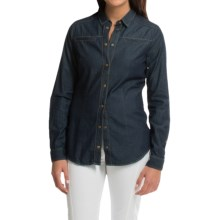 Barbour Cotton Shirt - Long Sleeve (For Women) in Dark Indigo, Chrome, Slim Fit, Snap Front - Closeouts