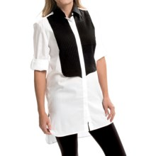 Barbour Cotton Shirt - Long Sleeve (For Women) in White/Black, Oversized - Closeouts