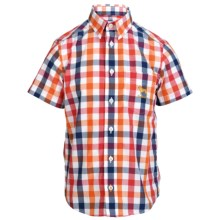Barbour Cotton Shirt - Short Sleeve (For Boys) in Flame Check, Atworth - Closeouts
