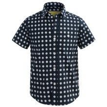 Barbour Cotton Shirt - Short Sleeve (For Boys) in Navy Plaid, Parade - Closeouts