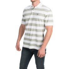 Barbour Cotton Shirt - Short Sleeve (For Men) in Light Moss, Block Stripe - Closeouts