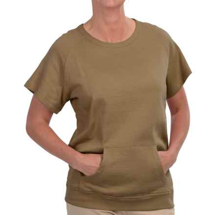 Barbour Cotton Sweatshirt - Short Sleeve (For Women) in Light Khaki - Closeouts