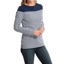 Barbour Cotton T-Shirt - Long Sleeve (For Women) in Navy, Staithes - Closeouts