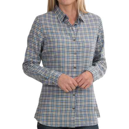 Barbour Craft Brushed Cotton Shirt - Small Check, Long Sleeve (For Women) in Chambray Check - Closeouts