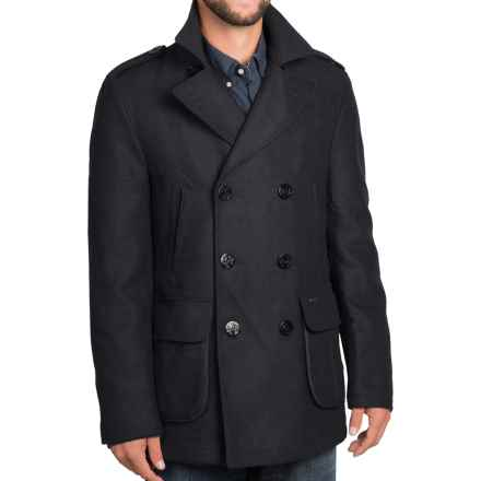 Barbour Duckpole Double-Breasted Peacoat - Wool Blend (For Men) in Navy - Closeouts