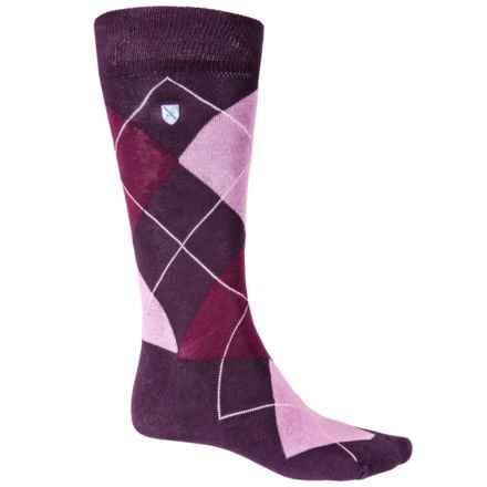 Barbour Durham Mid-Length Argyle Cotton-Blend Socks - Crew (For Men) in Purple Mix - Closeouts