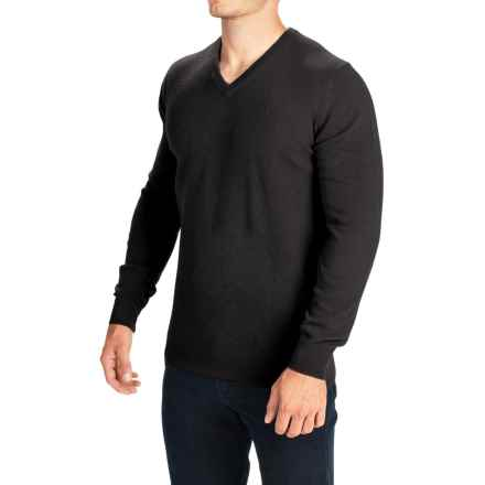 Barbour Essential Lambswool Sweater - V-Neck (For Men) in Black - Closeouts