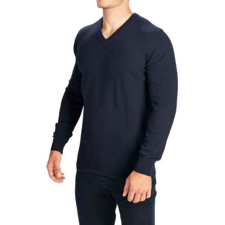 Barbour Essential Lambswool Sweater - V-Neck (For Men) in Navy - Closeouts