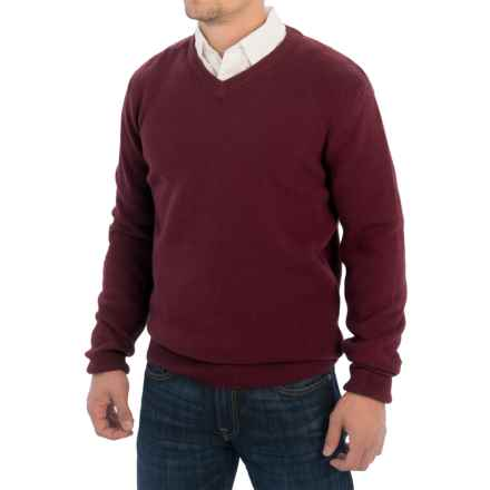 Barbour Essential V-Neck Sweater - Lambswool (For Men) in Merlot - Closeouts