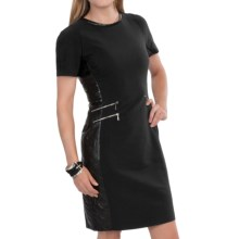 Barbour Faux-Leather-Trim Dress - Short Sleeve (For Women) in Black, Folco - Closeouts