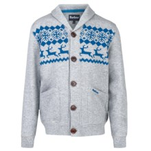 Barbour Fawn Sweatshirt - Button Front (For Boys) in Grey Marl - Closeouts