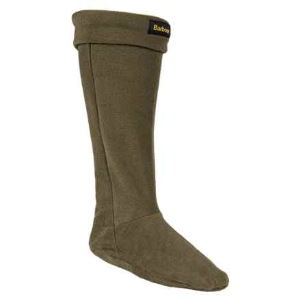 Barbour Fleece Wellington Boot Socks - Over the Calf (For Men) in Olive - Closeouts
