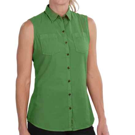 Barbour Foreland Cotton Shirt - Two Pocket, Sleeveless (For Women) in Linden Green - Closeouts