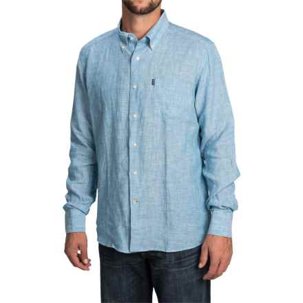 Barbour Frank Shirt - Tailored Fit, Linen, Long Sleeve (For Men) in Blue - Closeouts